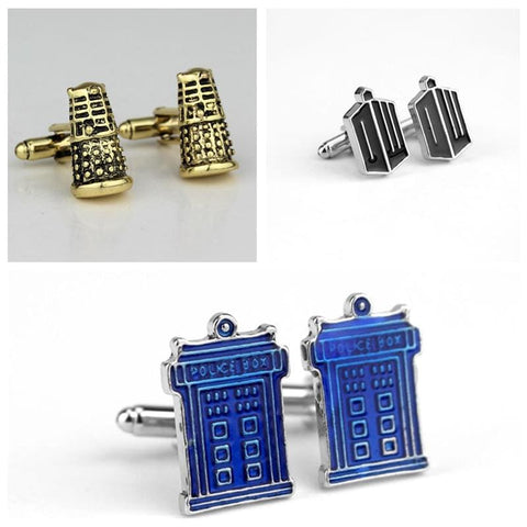 Image of Dr Who Blue Police Box &antique Golden Black Cufflinks - Accessories