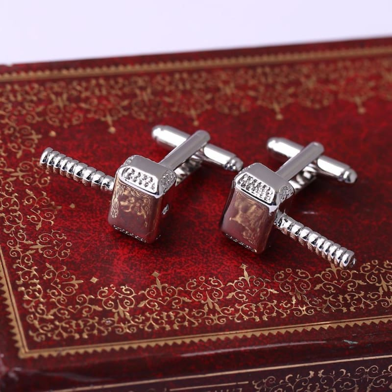 JEWELRY Superhero Thor Mjolnir Hammer Metal Alloy Cuff Links Men Cuff Buttons for Christmas HC11369-OtakuPlan