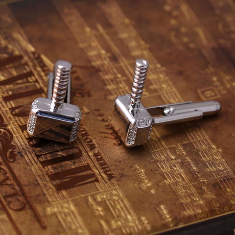 Image of JEWELRY Superhero Thor Mjolnir Hammer Metal Alloy Cuff Links Men Cuff Buttons for Christmas HC11369-OtakuPlan