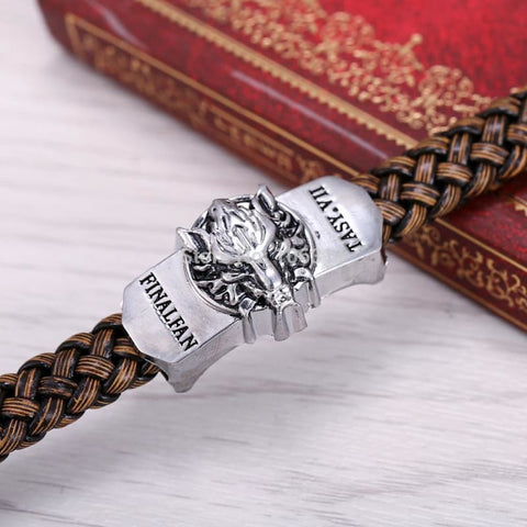 Image of Game Final Fantasy Silver Alloy Bracelets Wolf Logo Leather-OtakuPlan