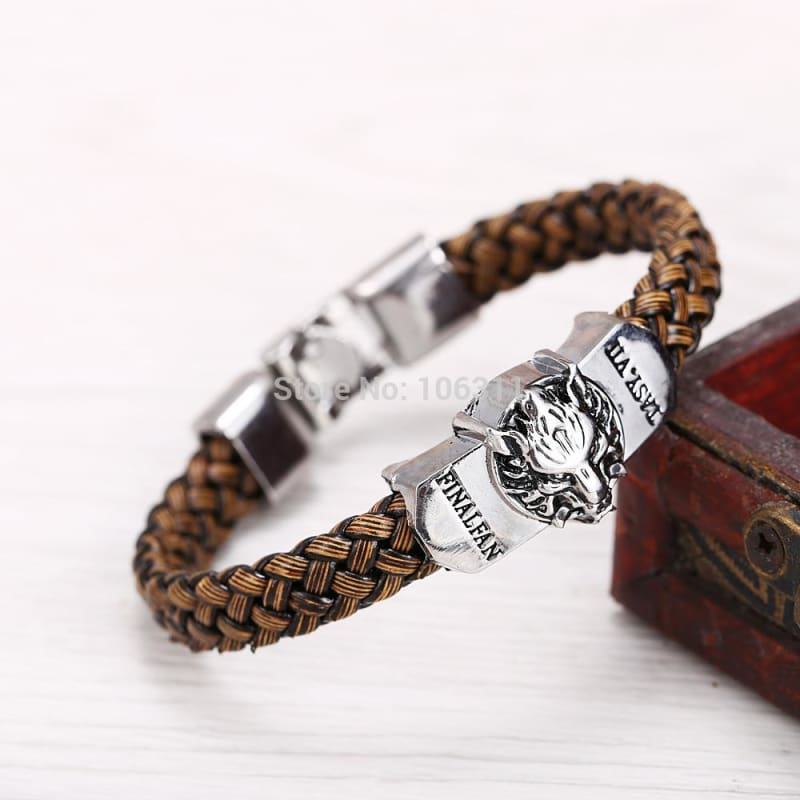 Game Final Fantasy Silver Alloy Bracelets Wolf Logo Leather-OtakuPlan