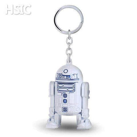 Image of R2D2 Rubber Logo White Keychain Metal Key Chain Ring for Fans-OtakuPlan