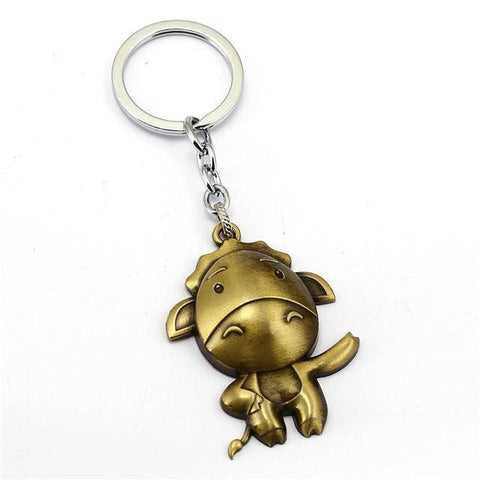 Image of Linnor 12 Zodiac Keychain Metal Tiger Dog Pig Sheep Key Chain-OtakuPlan