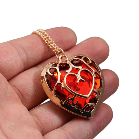 Image of Legend of Zelda Blue Red Crystal Heart Pendant Lovers Couple Necklace-OtakuPlan