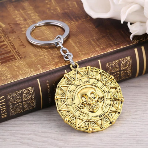 Image of Pirates of the Caribbean JACK SPARROW AZTEC Golden Keychain-OtakuPlan