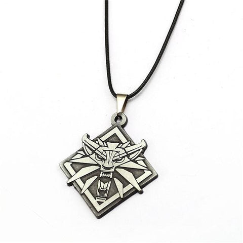 Image of Game The Witcher 3 Wolf Head Wild Hunt Pendant Necklace-OtakuPlan