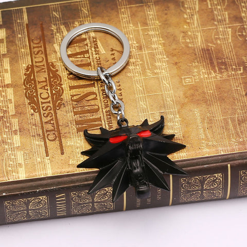 Image of The Witcher 3 Wild Hunt Keychain Mask Metal 3D Wolf Key Ring-OtakuPlan