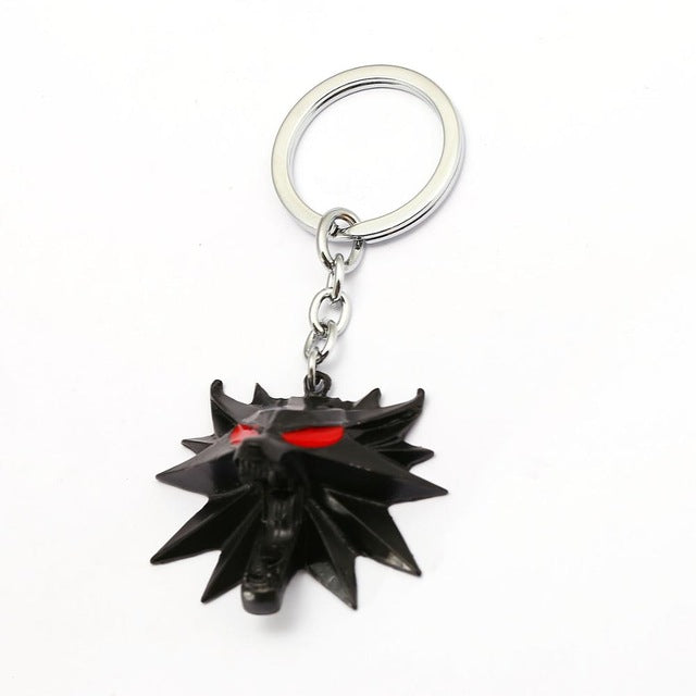The Witcher 3 Wild Hunt Keychain Mask Metal 3D Wolf Key Ring-OtakuPlan