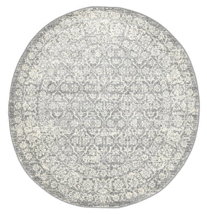 Garonne Round Flower Field Grey Distressed Rug