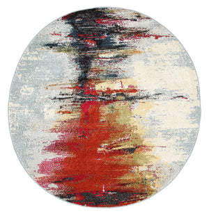 Garonne Round Multi Coloured Art Rug