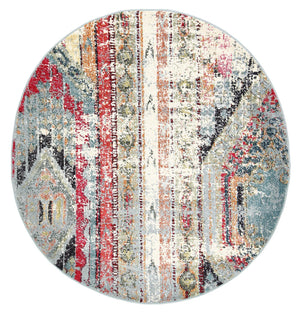 Garonne Round Bohemian Multi-coloured Distressed Rug