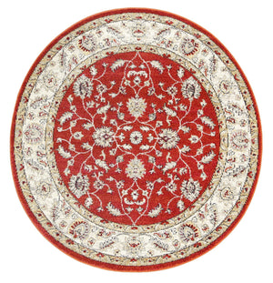 Garonne Round Flower Dance Border Rust Rug