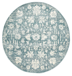 Garonne Round Drop Flower Distressed Turquoise Rug