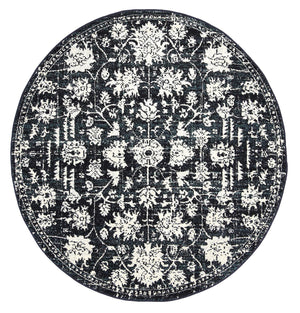 Garonne Round Drop Flower Distressed Navy Rug