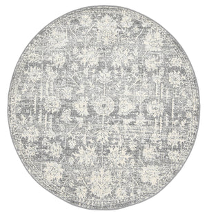 Garonne Round Drop Flower distressed Grey Rug