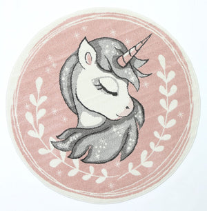 Magic Dreamy Unicorn Pink Round Kids Rug