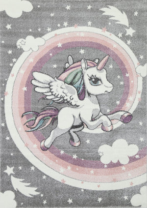 Magic Rainbow Unicorn Grey Kids Rug