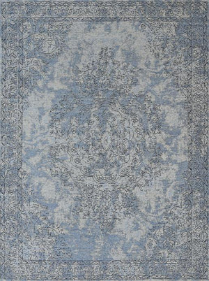 Orleans Florence Border Medallion Blue Distressed Rug