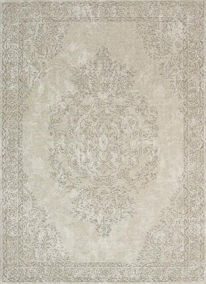 Orleans Florence Medallion Border Beige Distressed Rug