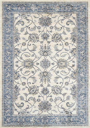 Meren Vintage Yarrow Cream Blue Boarder Rug