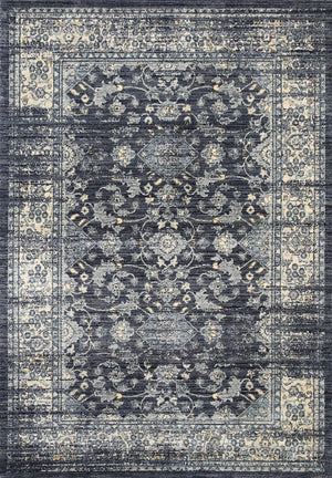 Meren Vintage Flower Diamond Navy Rug