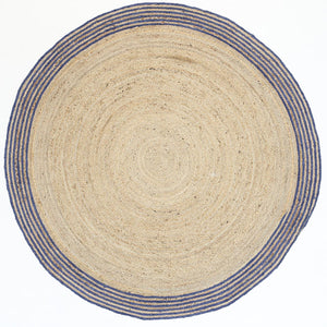 Nantes Pari Natural Navy Border Round Rug