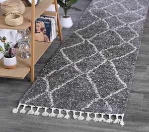 Safi Inperfect Diamond Tribal Grey Runner  Rug