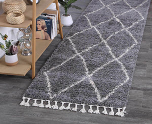 Safi Perfect Diamond Tribal Grey Runner  Rug