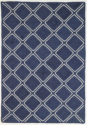 Andelle Natural Jute Parquetry Navy Rug