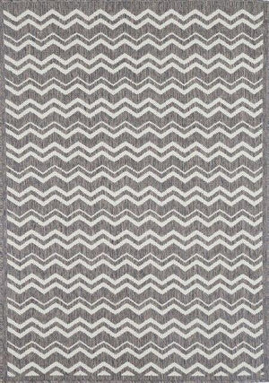 Monte Zig Zag Grey/White Outdoor/Indoor Rug