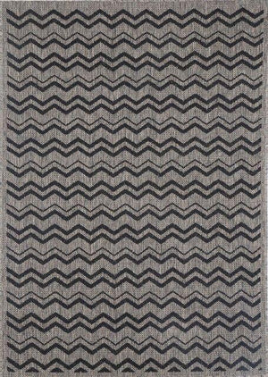 Monte Zig Zag Grey Black Outdoor/Indoor Rug