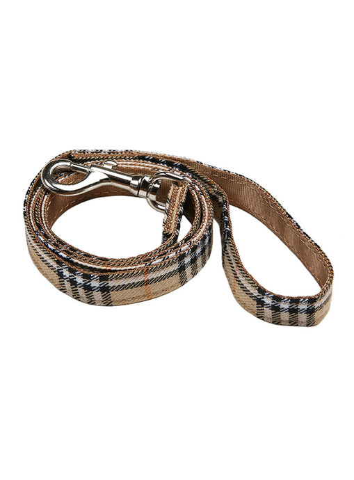 Image of urban pup brown checked tartan fabric lead 1
