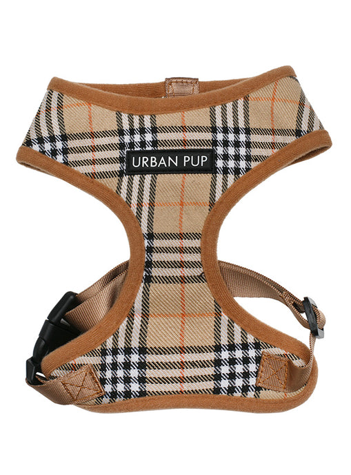 Image of urban pup brown checked tartan harness 1