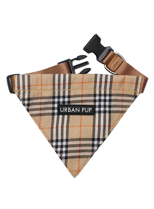 Image of urban pup brown checked tartan bandana 1