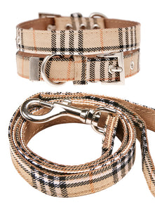 Image of urban pup brown checked tartan fabric collar lead set 1