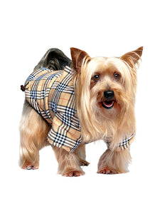 Image of urban pup brown checked tartan quilted coat 10