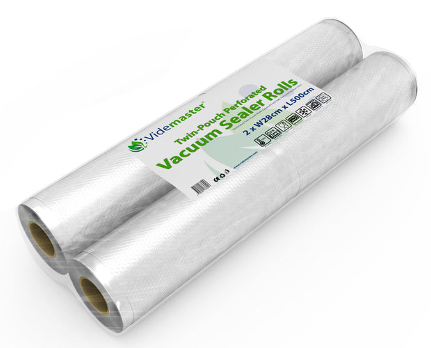 28cm x 5m Perforated Portion Vacuum Sealer Rolls by Videmaster (Pack of 2)