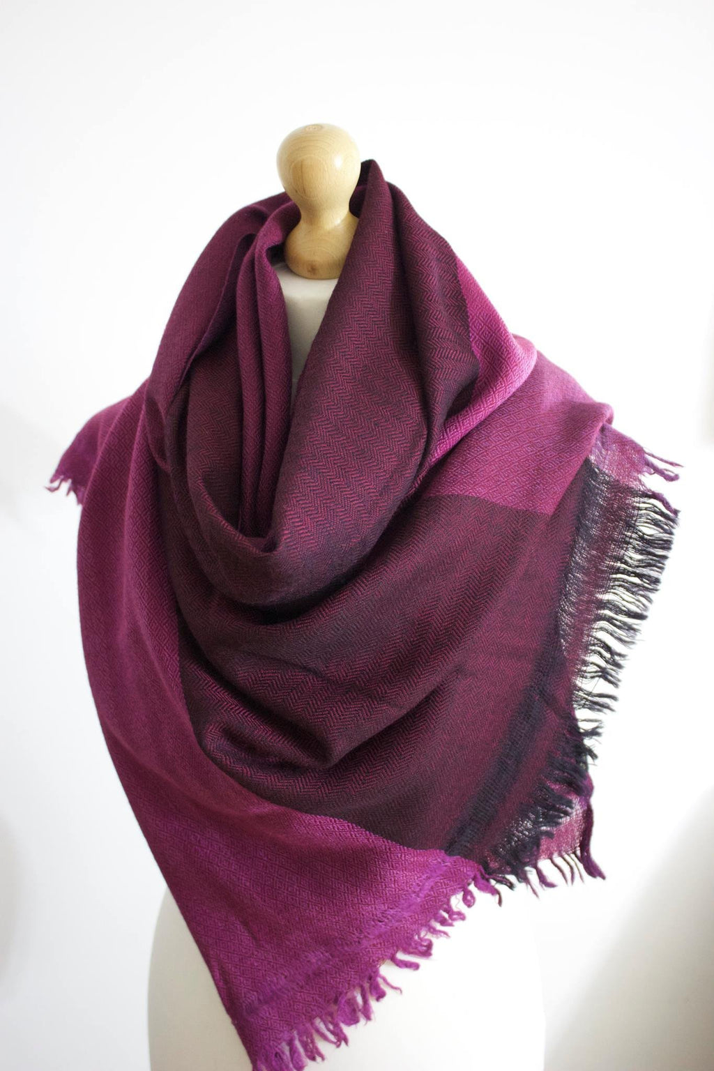 Silk & Angora Wool, Pink-Three tone, Hand-loom made, Shawl