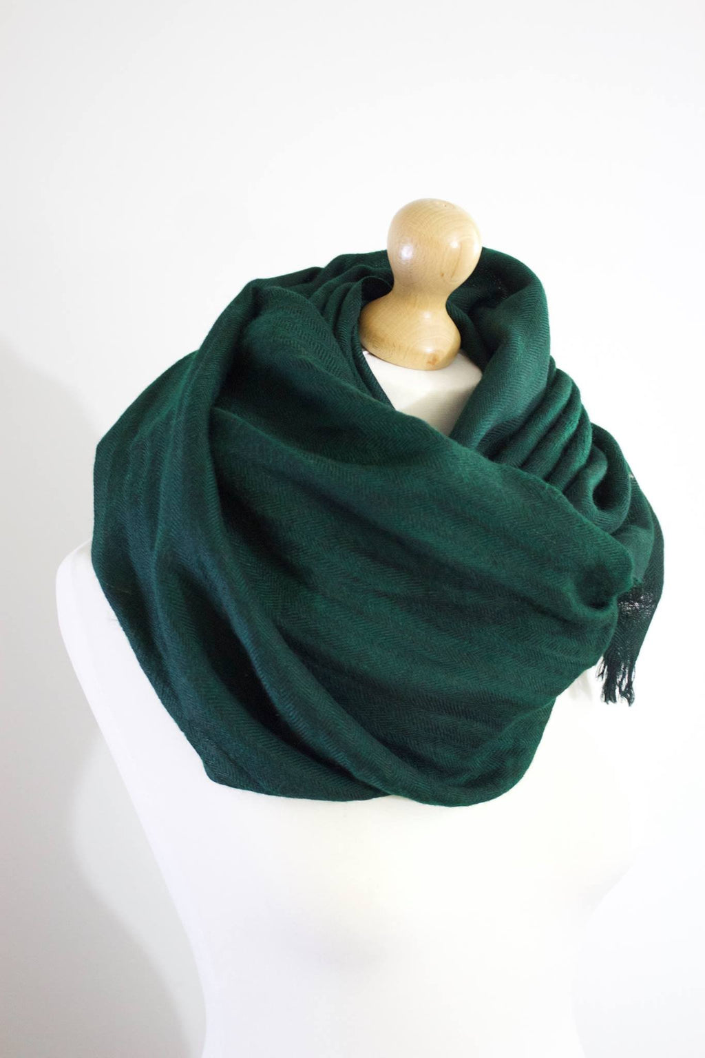 Pure 100% Wool, Green Cedar, Soft Pattern,Stole