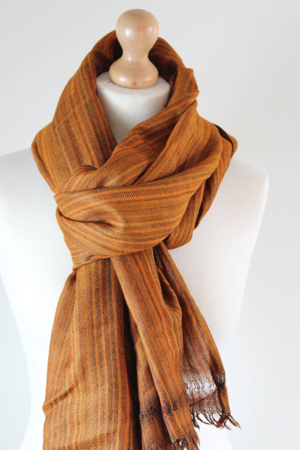 Pure 100% Wool, Brown Wood, Soft Pattern Stole