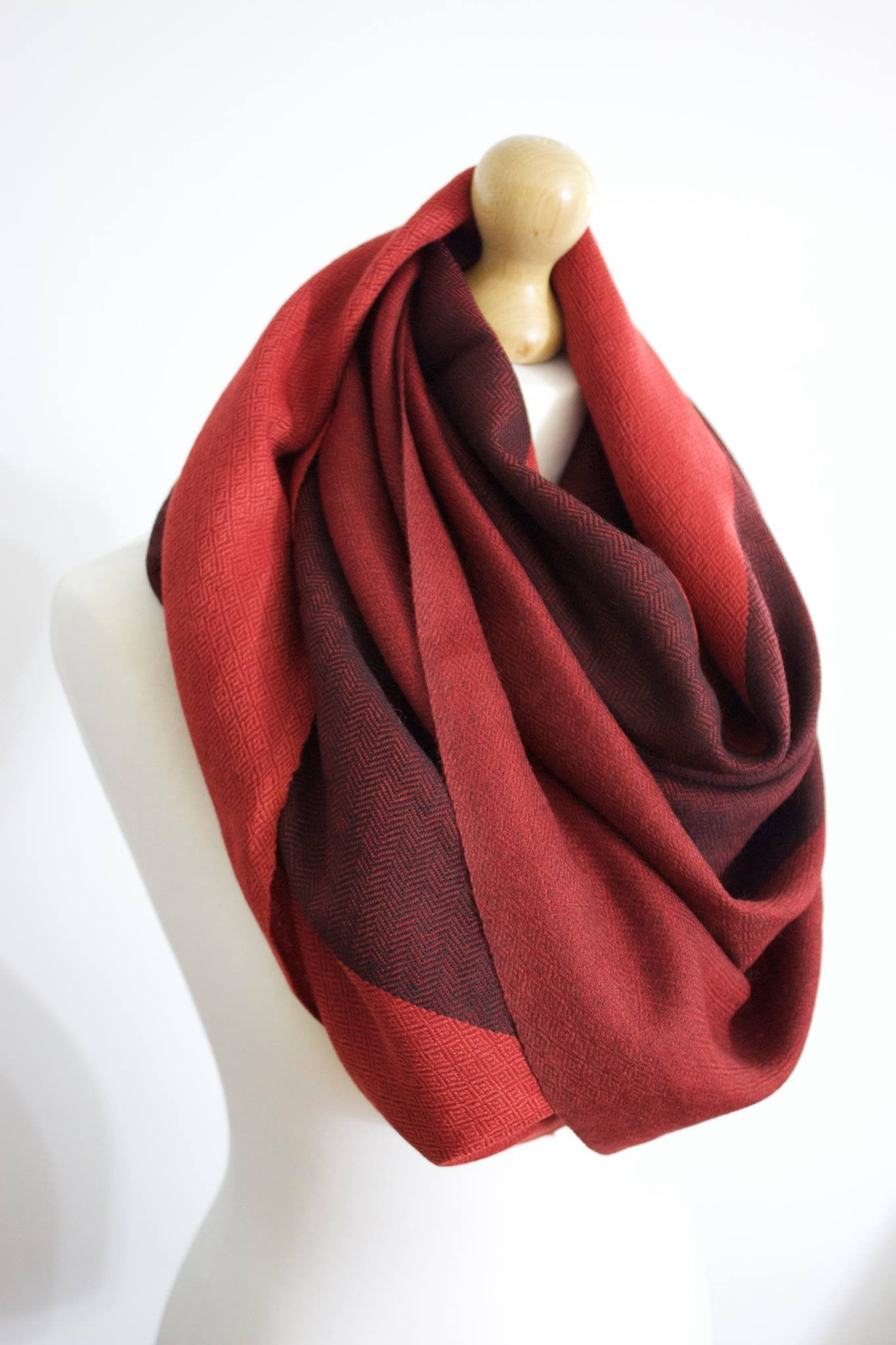Silk & Angora Wool, Burgundy Red-Three tone, Hand-loom made, Shawl