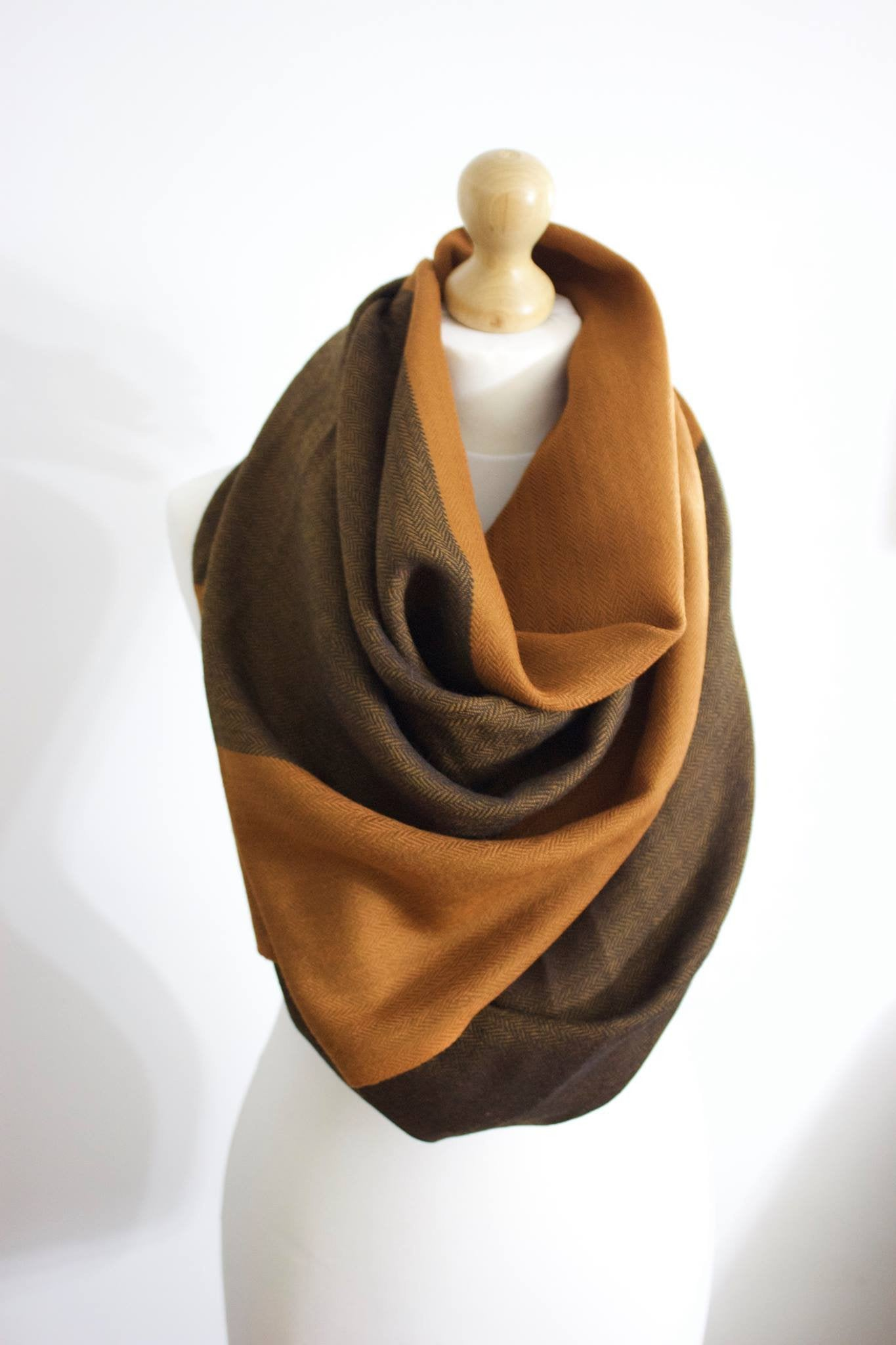 Silk & Angora Wool, Wood Brown-Three tone, Hand-loom made, Shawl