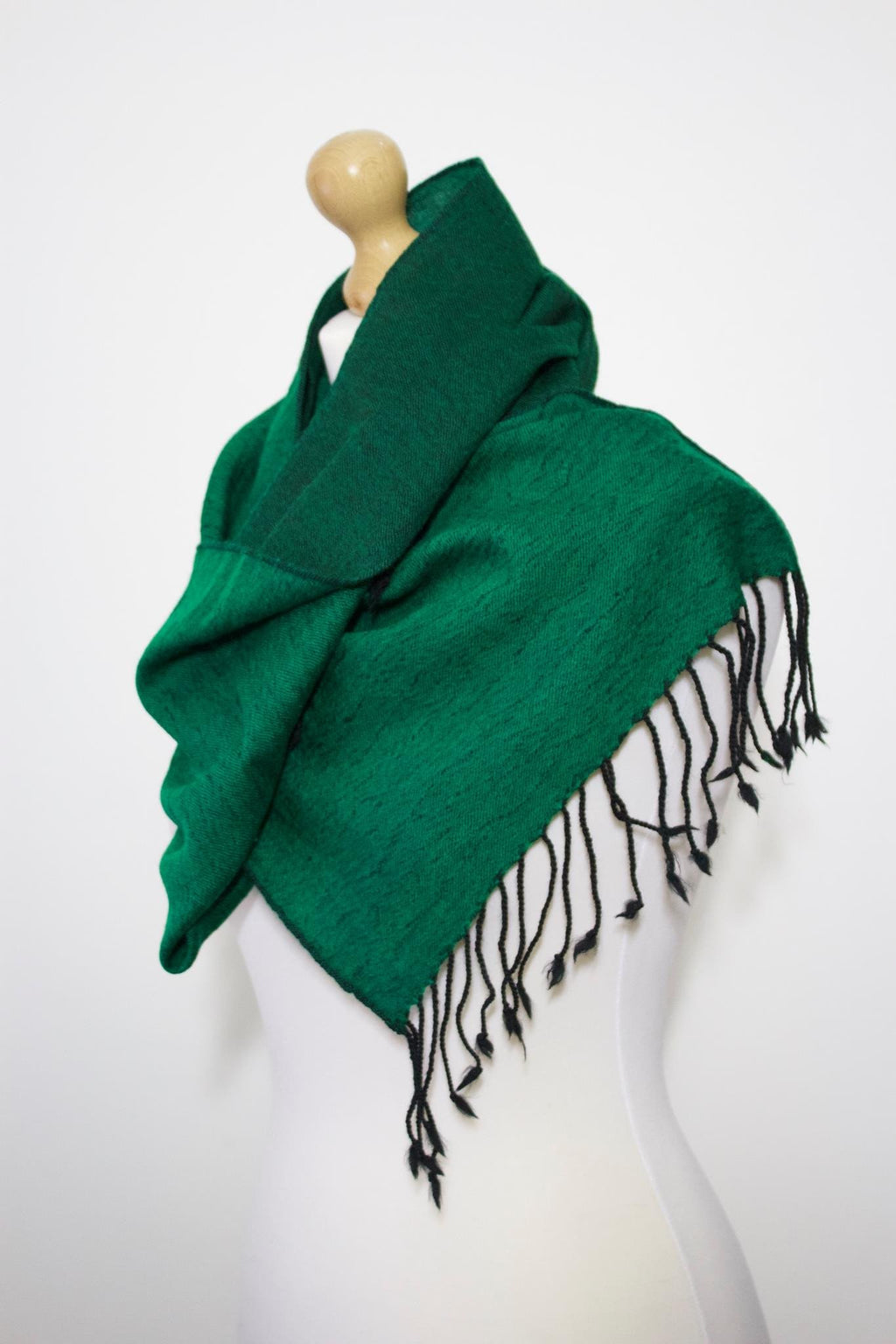 Wool Blend, Bright Forest Green Two Tone, Muffler