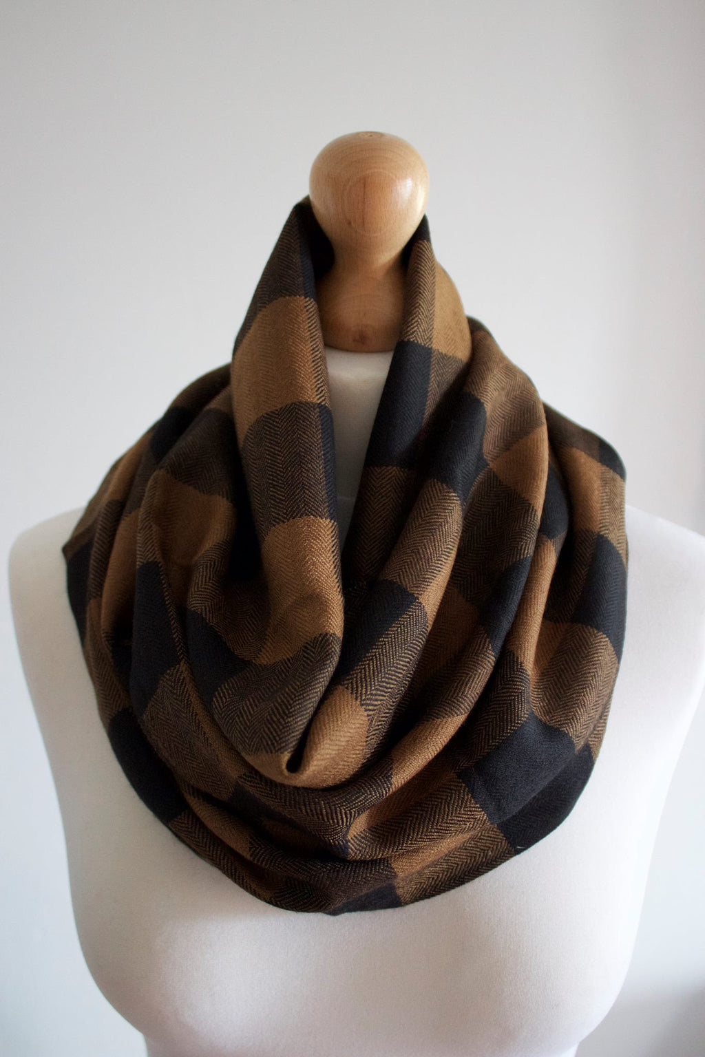 Pure 100% Wool, Brown Wood, Block Muffler