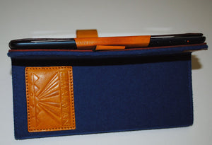 iPad Mini Cover Blue Embroidered with fine buff leather frame and red in-seam