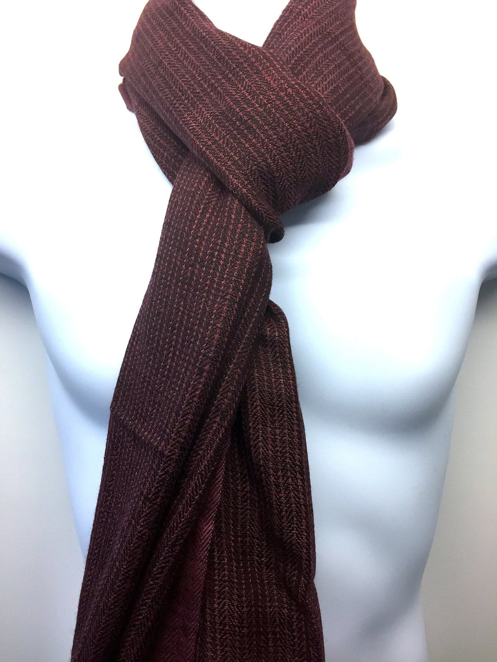 Pure 100% Wool, Deep Rust, Soft Pattern Stole