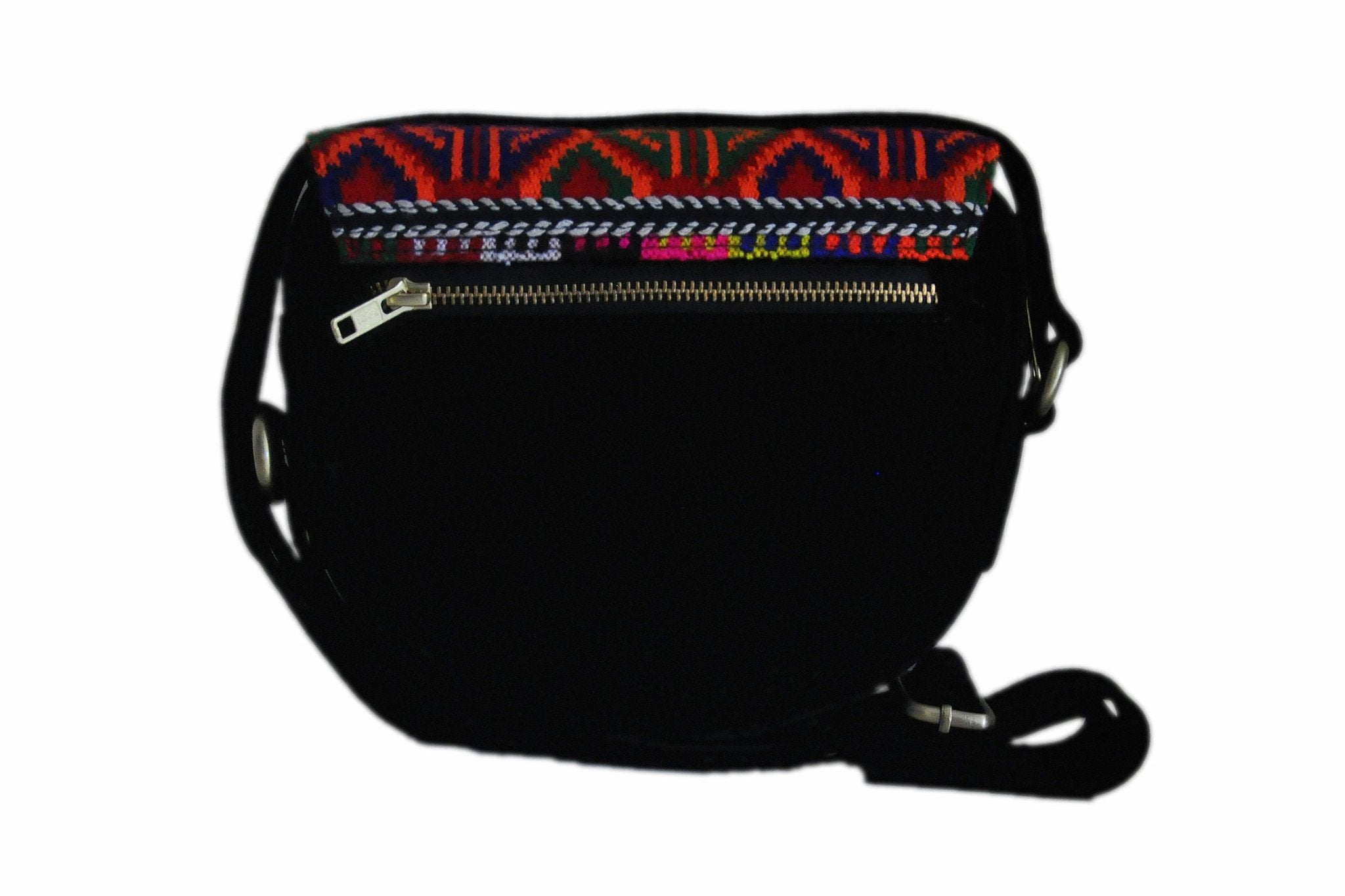 Woven Traditional Circular Pattern Satchel with Shoulder Length Strap