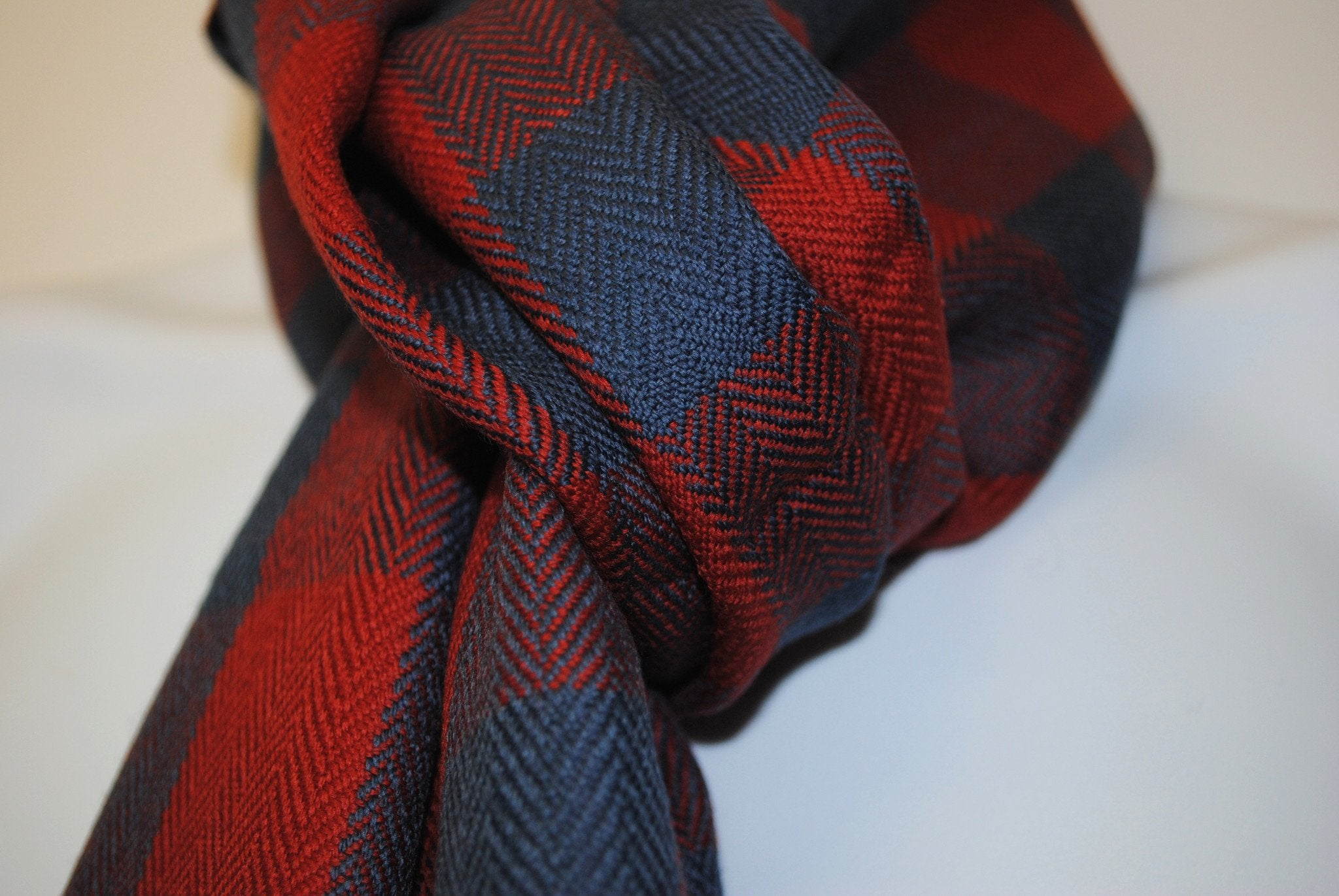 Pure 100% Wool, Azure Blue & Soft Red Scarf