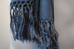 Pure 100% Wool, Sky Blue & Silver, Soft Pattern, Stole