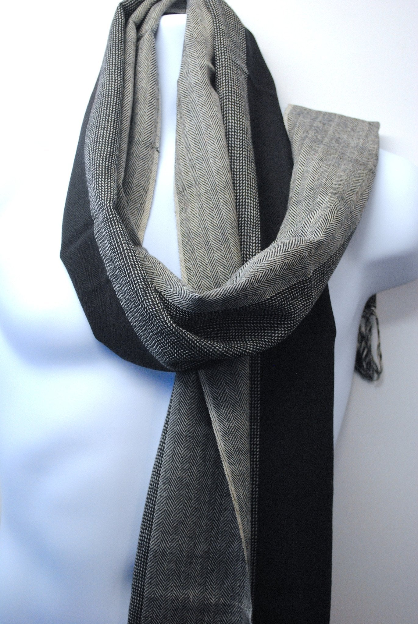 Pure 100% Wool, Black, Slate & Steel Grey Men's Scarf